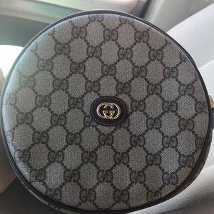 Vintage Round Gucci Monogram shoulder purse